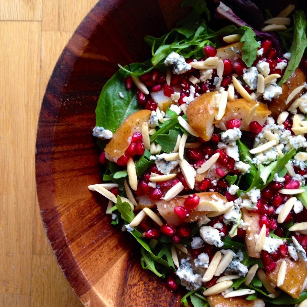 Fall Salad: Roasted Pear, Pomegranate, And Gorgonzola With
