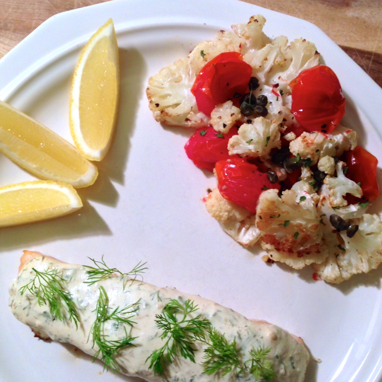 Roasted Salmon with Dill Yogurt Sauce and Cauliflower ...